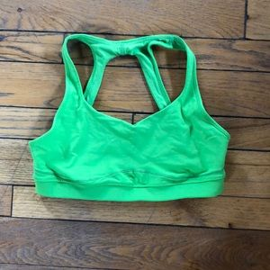 Lime green lululemon sports bra without pads.